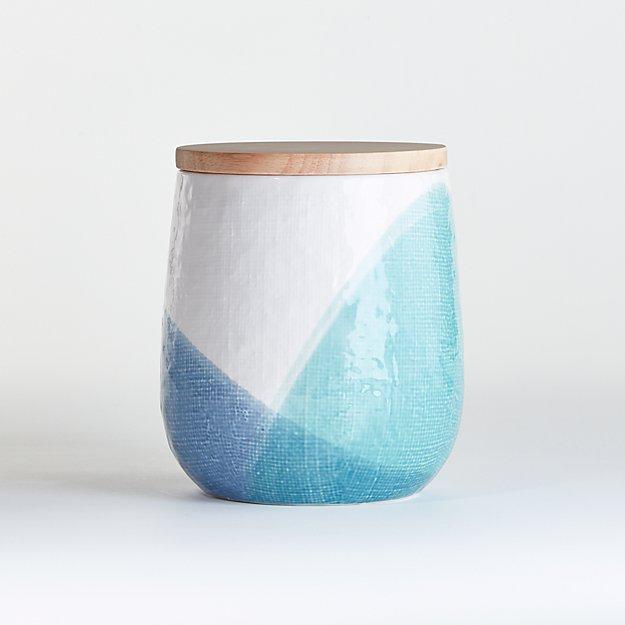 Maci Medium Ceramic Canister with Wood Lid - Image 1 of 3