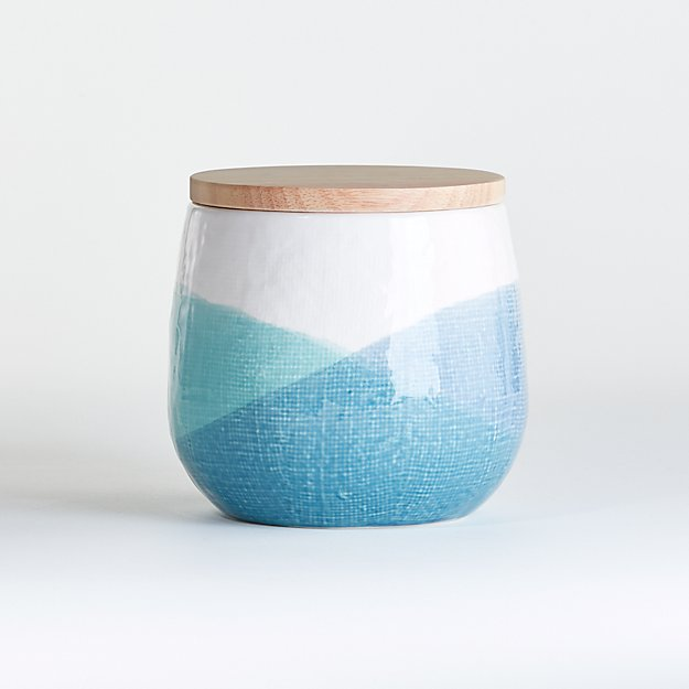 Maci Small Ceramic Canister with Wood Lid - Image 1 of 3