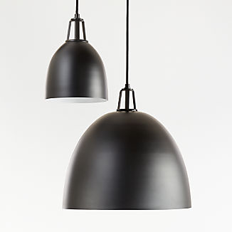Maddox Black Dome Pendant with Black Socket