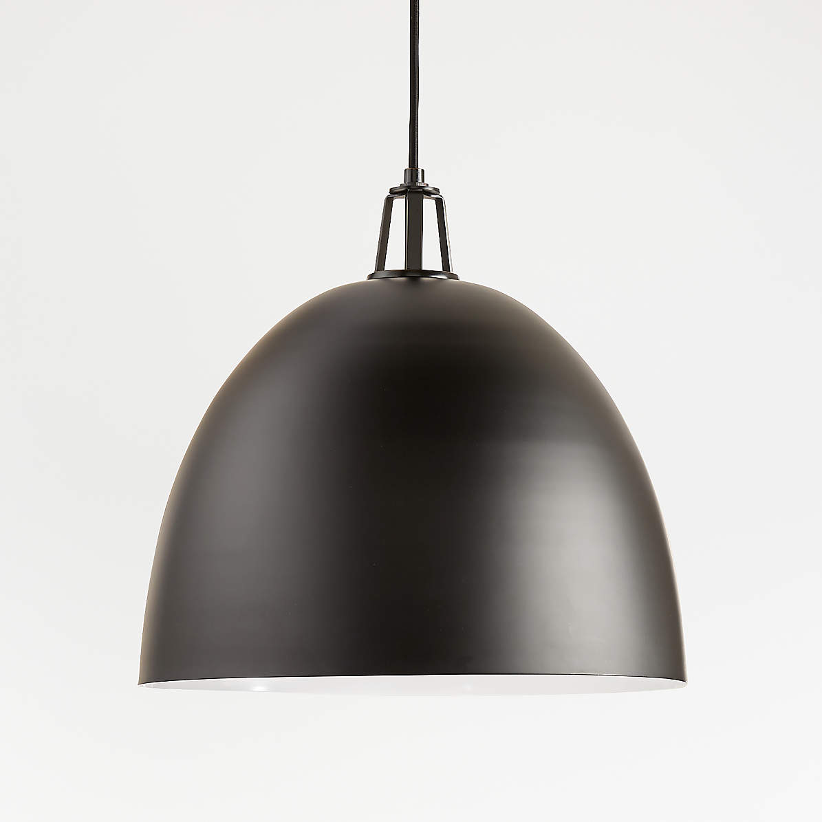 Maddox Black Dome Pendant Large With Black Socket Reviews Crate And Barrel
