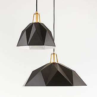 Maddox Black Faceted Pendant with Brass Socket