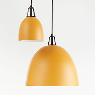 Maddox Mustard Dome Pendant with Black Socket