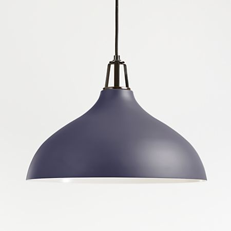 Maddox Navy Bell Pendant Large With Black Socket Crate And