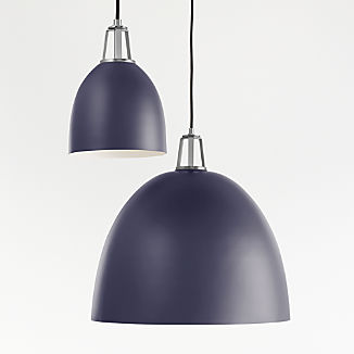 Maddox Navy Dome Pendant with Nickel Socket