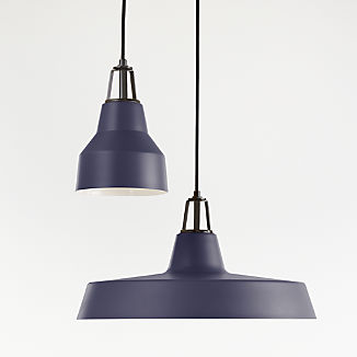 Maddox Navy Farmhouse Pendant with Black Socket