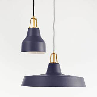 Maddox Navy Farmhouse Pendant with Brass Socket