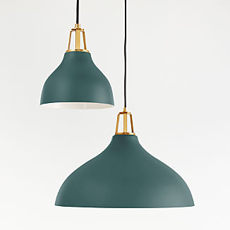Maddox Teal Bell Pendant with Brass Socket
