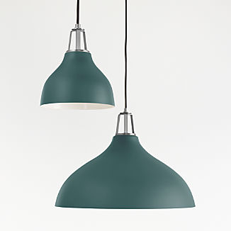 Maddox Teal Bell Pendant with Nickel Socket