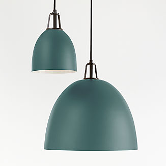 Maddox Teal Dome Pendant with Black Socket