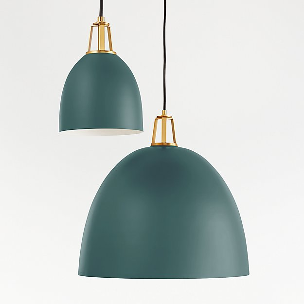 Maddox Teal Dome Pendant with Brass Socket - Image 1 of 8