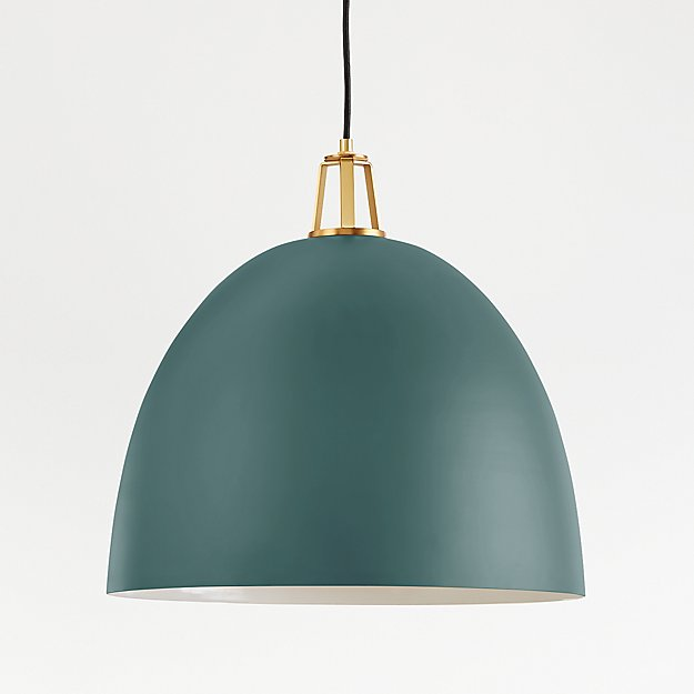 Maddox Teal Dome Pendant Large with Brass Socket - Image 1 of 8