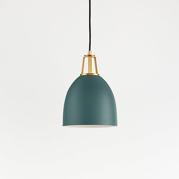 Maddox Teal Dome Pendant Small with Brass Socket - Image 1 of 8