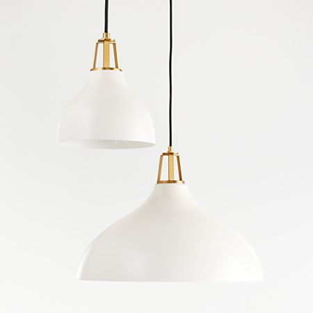 Maddox White Bell Pendant With Br Socket Crate And Barrel