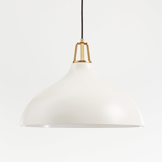 Maddox White Bell Pendant Large with Brass Socket - Image 1 of 9
