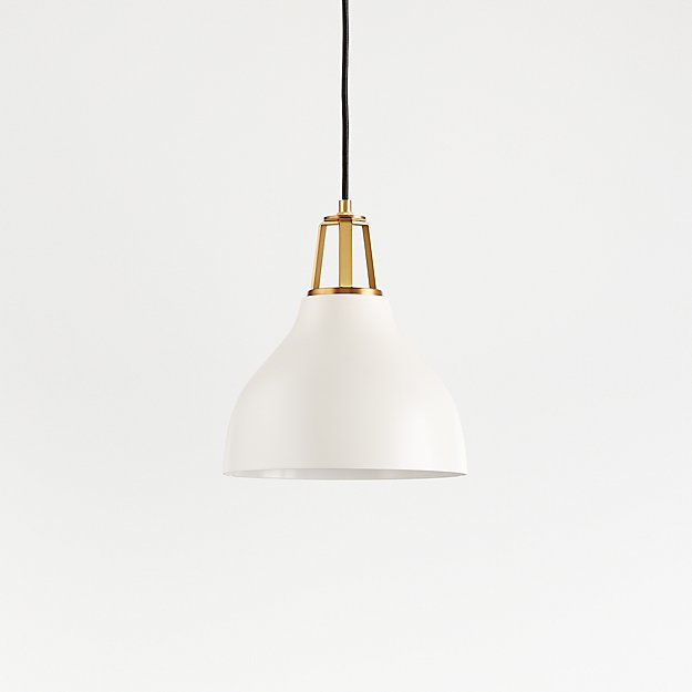 Maddox White Bell Pendant Small with Brass Socket - Image 1 of 9