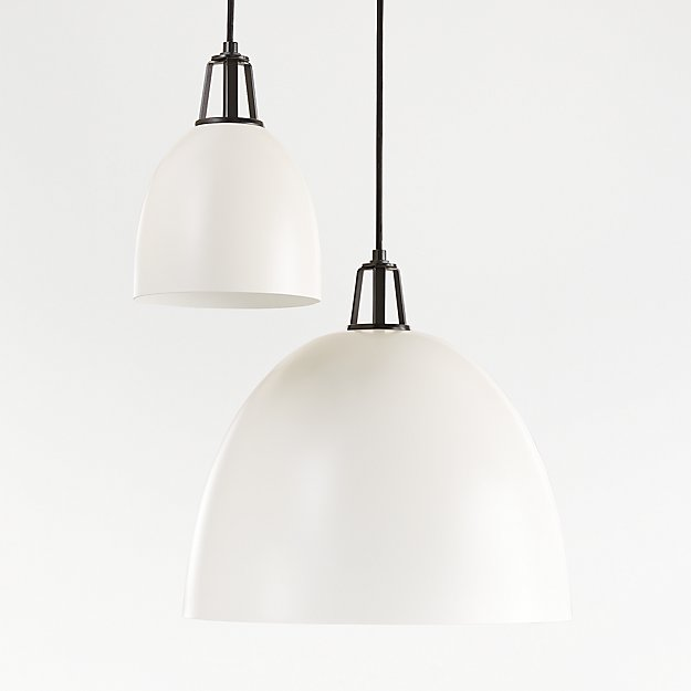 Maddox White Dome Pendant with Black Socket - Image 1 of 8