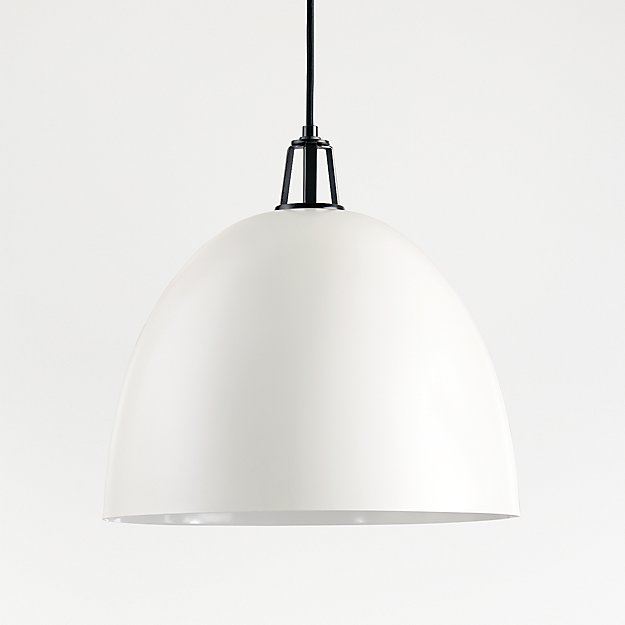 Maddox White Dome Pendant Large with Black Socket - Image 1 of 8