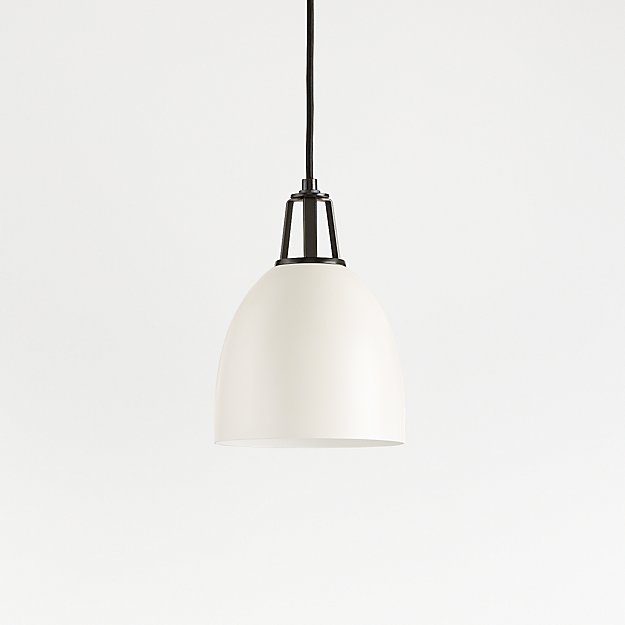Maddox White Dome Pendant Small with Black Socket - Image 1 of 8