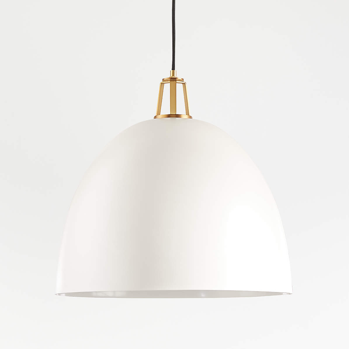 Maddox White Dome Pendant Light With Brass Socket Crate And Barrel