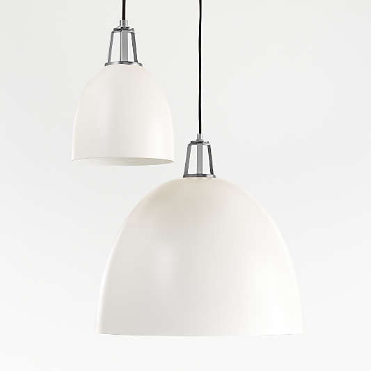 Maddox White Dome Pendant with Nickel Socket
