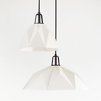 Maddox White Faceted Pendant with Black Socket