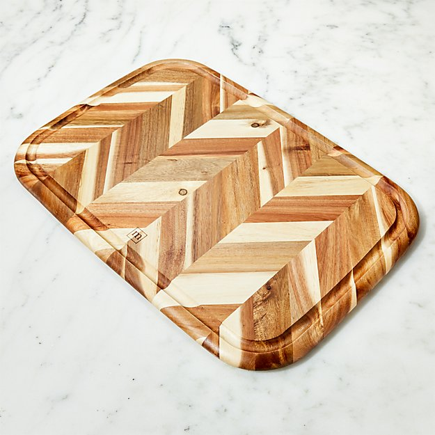 Madeira Large Herringbone Acacia Wood Board - Image 1 of 4