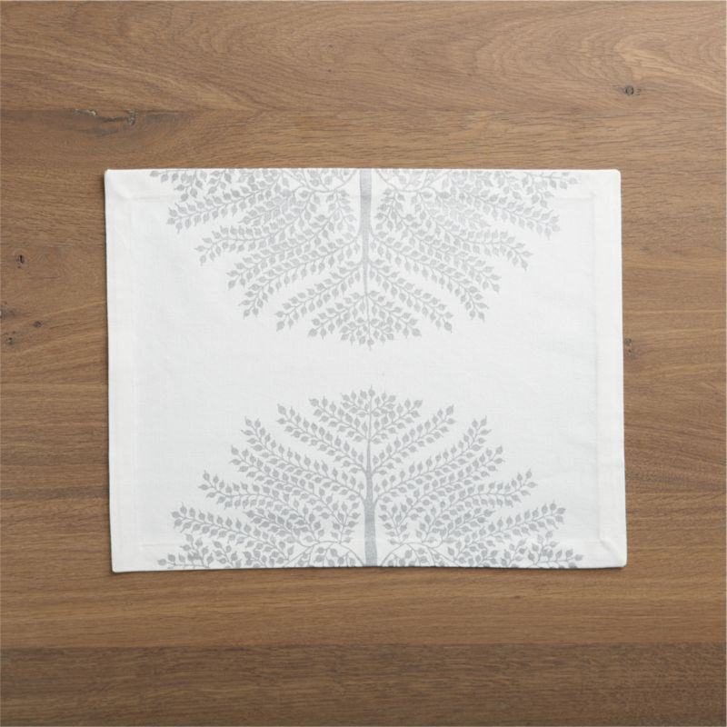 Graphic renderings of the graceful Indian madhubani tree array in mirror images printed in matte silver on cotton.<br /><br /><NEWTAG/><ul><li>100% cotton</li><li>Machine wash, tumble dry; warm iron as needed</li></ul>