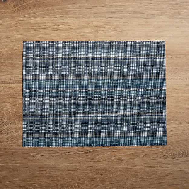 Chilewich ® Madras Stripe Blue Placemat - Image 1 of 2
