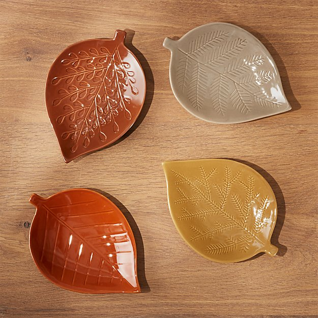 Maebry Leaf Appetizer Plates, Set of 4