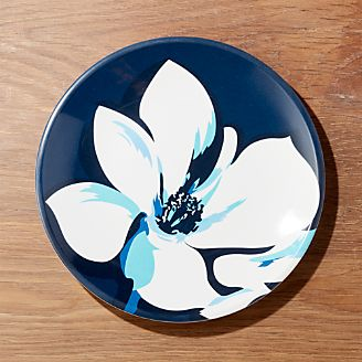 Magnolia Blue Melamine Dinner Plate & Dinner Plates: Square Oval Rectangular \u0026 Round | Crate and Barrel