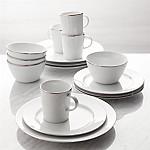 Maison Platinum Rim 16-Piece Dinnerware Set
