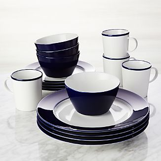 Maison Cobalt Blue 16-Piece Dinnerware Set & Blue Dinnerware | Crate and Barrel