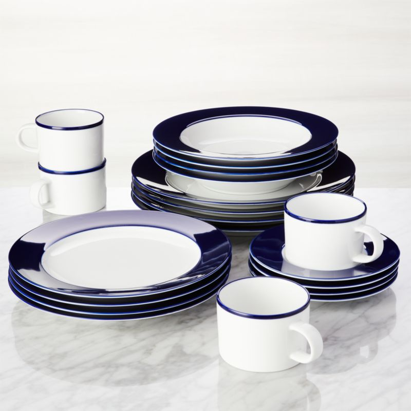 & Maison Cobalt Blue 20-Piece Dinnerware Set + Reviews | Crate and Barrel