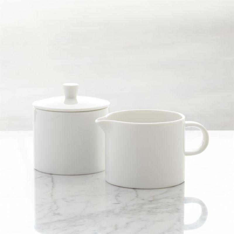 White Sugar Bowl And Creamer Set Crate And Barrel