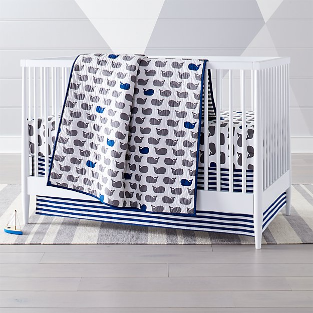 Baby Bedding Grey Blue Whale Crib Bedding Crate And Barrel