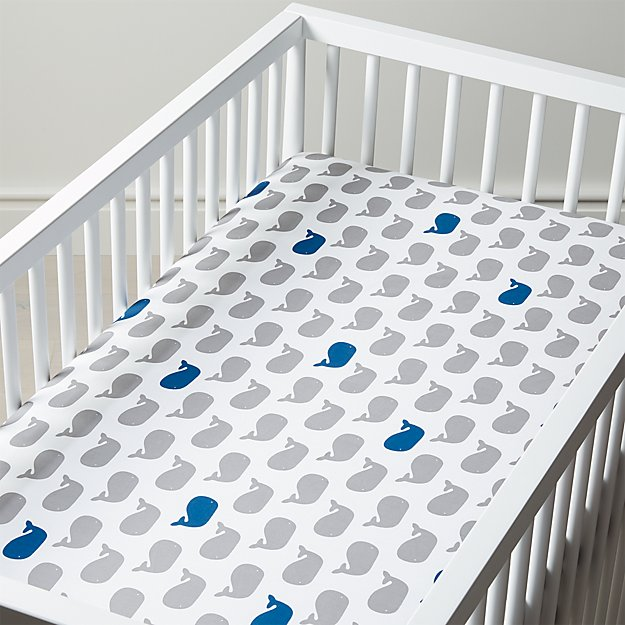 Organic Splash Whale Crib Fitted Sheet Reviews Crate And Barrel