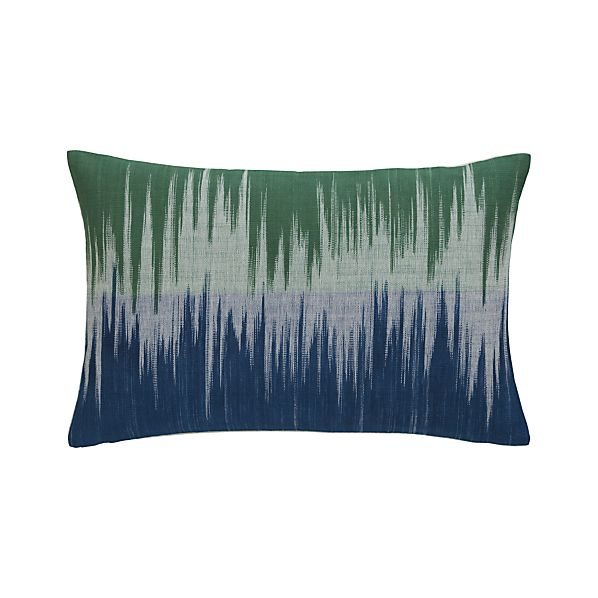 "Malabar Blue and Green 18""x12"" Pillow with Down-Alternative Insert"