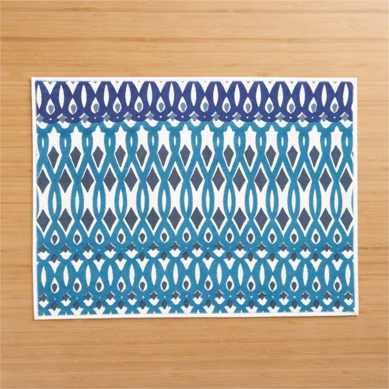 Graphic modern design plays big and small in colorful, repeating motif inspired by Indian architecture and handicrafts. Pattern is screenprinted by hand on 100% cotton.<br /><br /><NEWTAG/><ul><li>Handcrafted</li><li>100% cotton</li><li>Machine wash cold, tumble dry; warm iron as needed</li><li>Do not dry clean</li></ul>