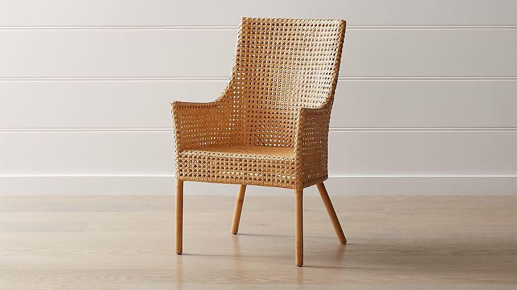 Maluku Natural Rattan Dining Arm Chair Reviews Crate And Barrel