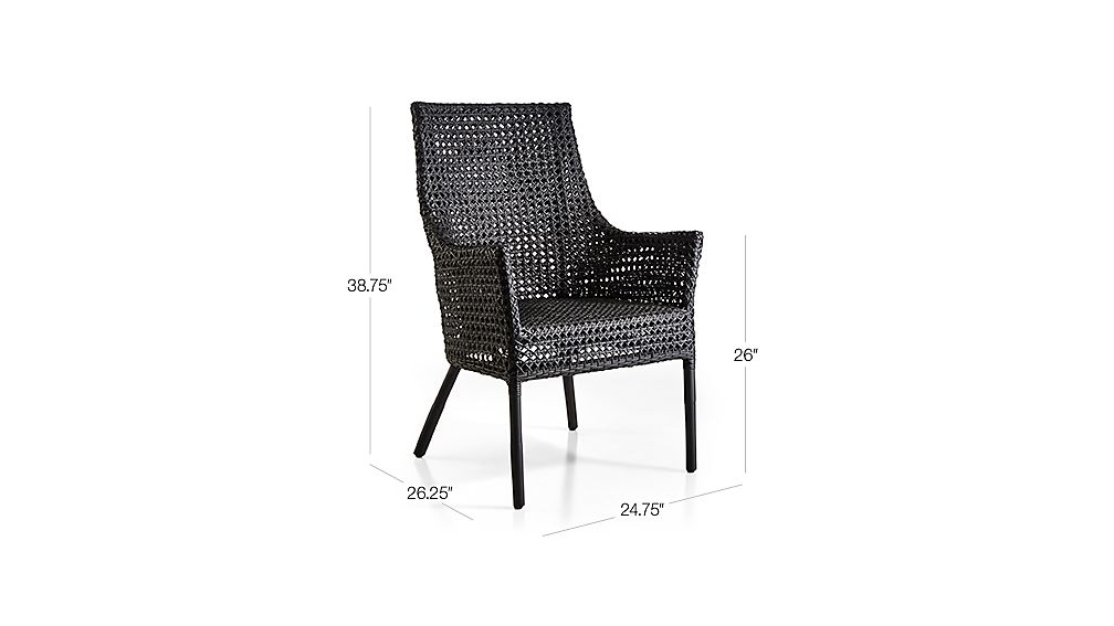 TAP TO ZOOM Image With Dimension For Maluku Black Rattan Dining Arm Chair