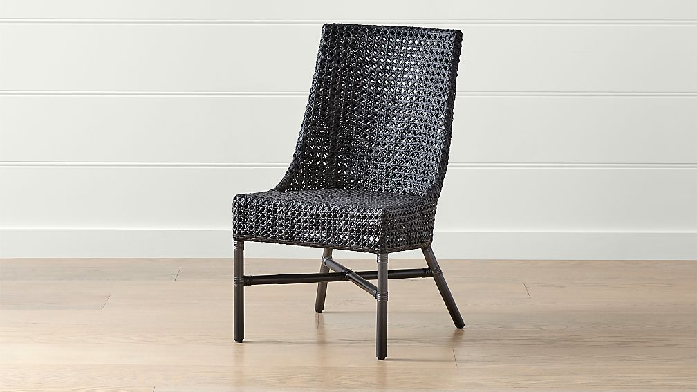 Maluku Black Rattan Dining Side Chair Reviews Crate And Barrel