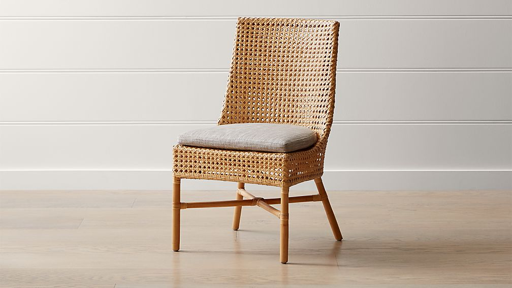 Maluku Natural Rattan Dining Side Chair and Cushion - Image 1 of 12
