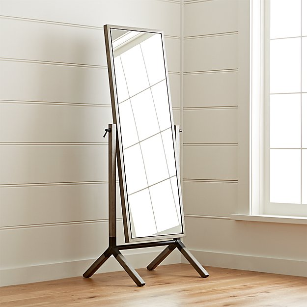 Malvern Grey Cheval Floor Mirror + Reviews | Crate and Barrel
