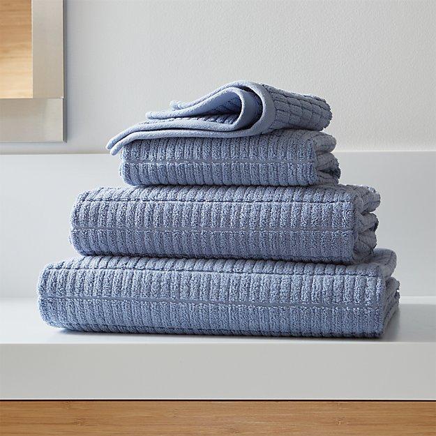 Manhattan Blue Bathroom Towels Crate and Barrel