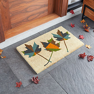 "Coir Maple Leaf Doormat 18""x30"""