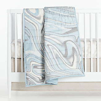 Organic Blue Marble Baby Bedding
