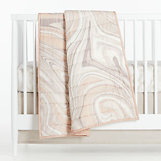 Organic Pink Marble Baby Bedding