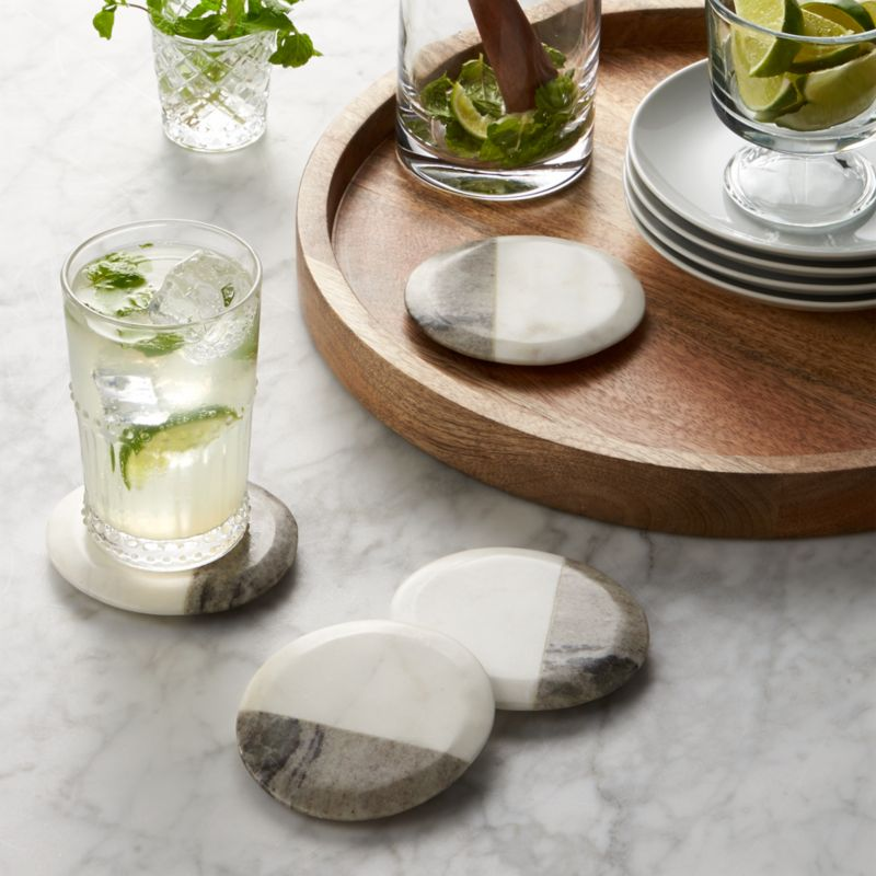 Set Of 4 Marble Coasters Reviews Crate And Barrel