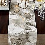 Marbled 90  Grey Metallic Table Runner