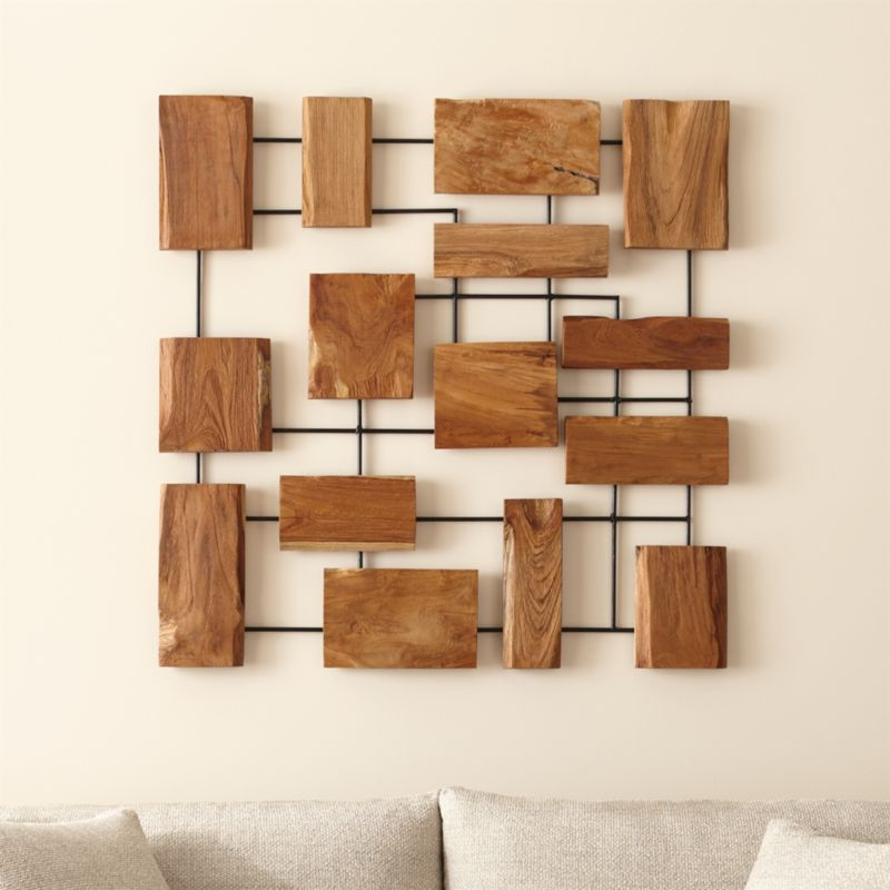 Wood And Iron Wall Art Simple Marcel Teak Wall Art  Crate And Barrel Inspiration